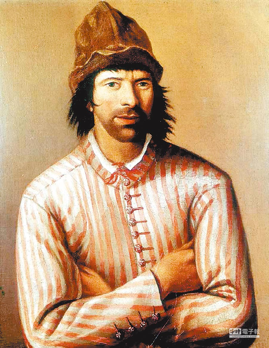 荷蘭畫家繪製的彼得大帝肖像圖,蓬頭垢面偽裝成士官隨使節團出行。(聯經出版提供)