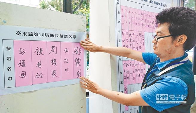 107年地方公職人員選舉受理登記參選8月31日為最後一天,圖為工作人員在公告區的縣長參選名單上貼出名條。(中央社)