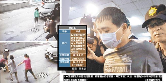 法務部8月31日執行死刑,殺害妻女的李宏基(戴口罩者)伏法。左圖為2014年時李宏基行凶和搶小孩的監視器畫面。(本報資料照片)