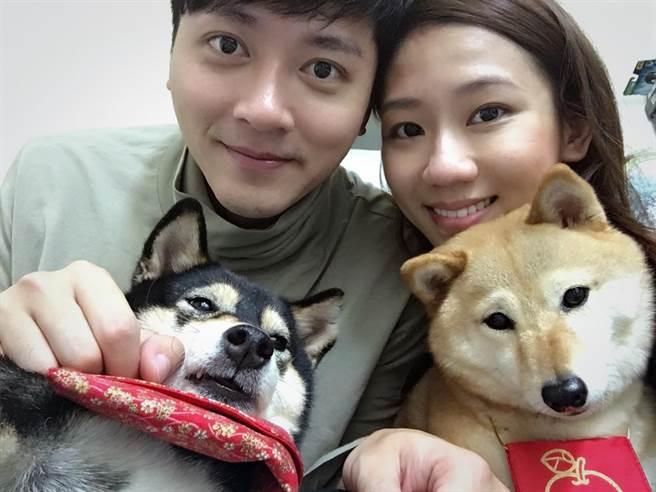馬俊麟與妻子梁敏婷一起養了兩隻柴犬。(民視提供)