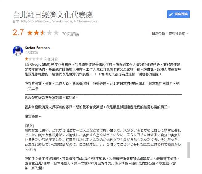 「台北駐日經濟文化代表處」在Google評論負評多。圖/翻攝自Google