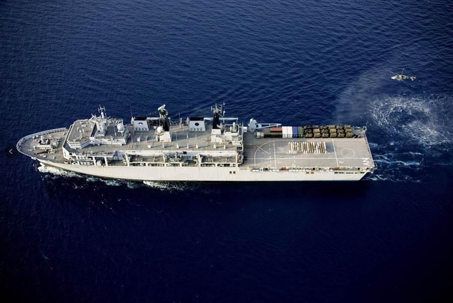 英國「海神之子」號船塢運輸艦上月31日擅自非法進入西沙群島領海。(環球時報)