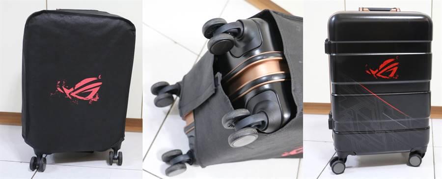 華碩ROG Phone全配加贈的行李箱加上防塵套(左)、防塵套底部(中)、以及防塵套拆開後的樣貌。(圖/黃慧雯攝)