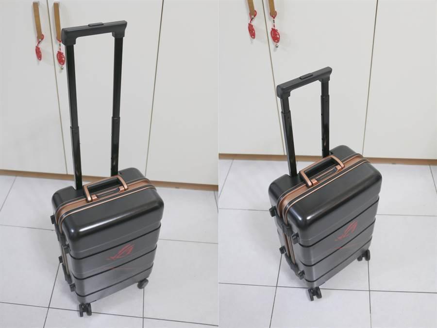 華碩ROG Phone全配加贈的行李箱拉桿最高(左)與最低高度。(圖/黃慧雯攝)