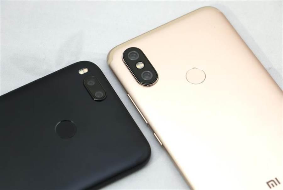 小米A2(金色)與小米A1背面相機設計不同。(圖/黃慧雯攝)