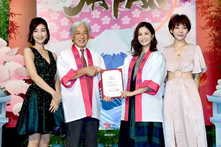 大久保麻梨子(左起)、多田空仁彦、吳怡霈與特蕾沙出席《週遊JAPAN》開播記者會。(圖片提供:華視)