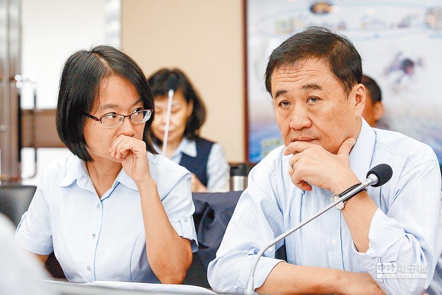 北農總經理吳音寧(左)赴議會進行專案報告,不過會議開始後議員要求吳音寧及董事長陳景峻(右)先道歉再報告,讓比鄰而坐的兩人顯得有點尷尬。(鄧博仁攝)