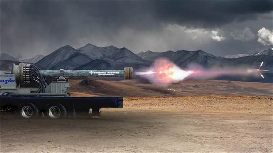 美國陸軍也開始加快研究電磁砲。(圖/通用原子)