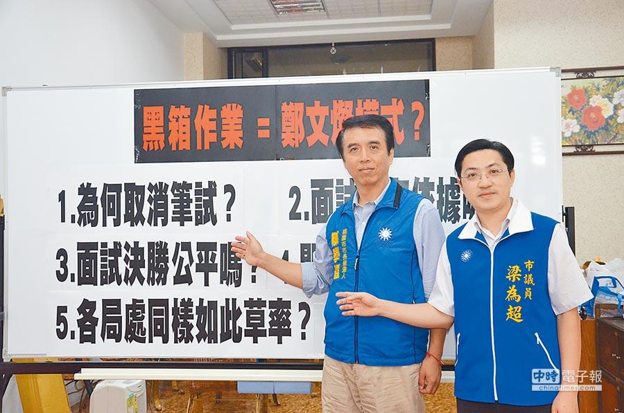 桃園市長參選人陳學聖(左)、市議員梁為超批評桃園市衛生局招考公職護理師,卻僅有面試一關,強烈質疑有人為操控空間。(賴佑維攝)