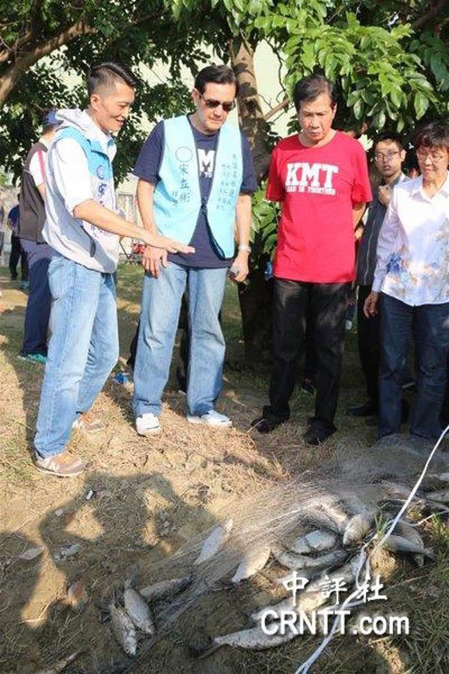 馬英九下午到高雄梓官區蚵仔寮附近的養殖魚塭了解養殖水產業現況。(取自中評社)