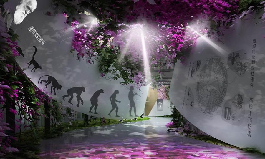 「花舞館」以花朵概念發想,兩棟圓形構築結合鑲嵌構成一個8字迴圈形,並分為大小兩個圓形展覽空間。(示意圖/台中市府提供)