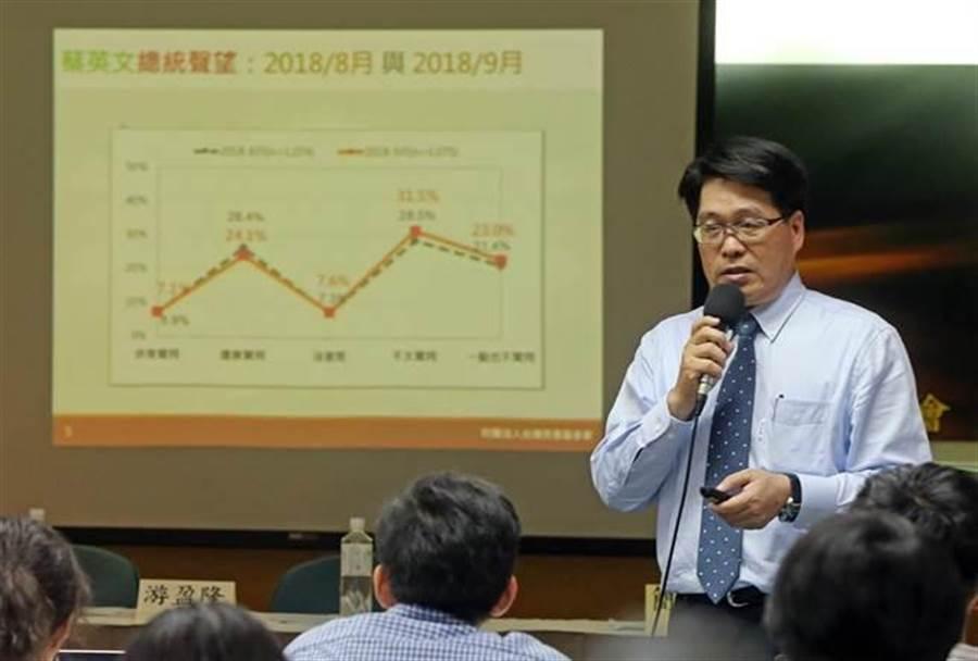 董事長游盈隆舉行「台灣人眼中的蔡英文總統」全國性民調發表會。(趙雙傑攝)