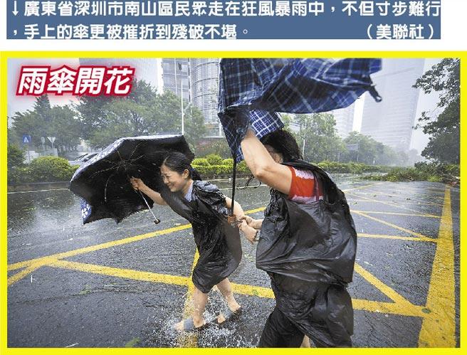 廣東省深圳市南山區民眾走在狂風暴雨中,不但寸步難行,手上的傘更被摧折到殘破不堪。(美聯社)
