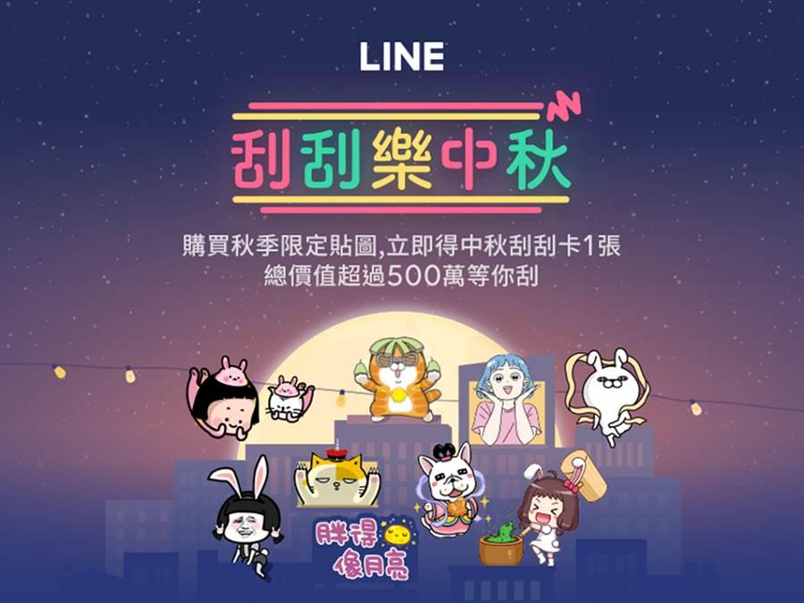 LINE推出「刮刮樂中秋」活動 送出總價值超過500萬好禮。(圖/LINE提供)