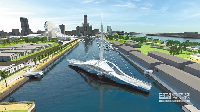 長度約110公尺的大港橋,將串連亞洲新灣區、駁二特區及30公頃的蓬萊倉庫群,形成水岸觀光、文創廊道。圖/台灣港務公司提供