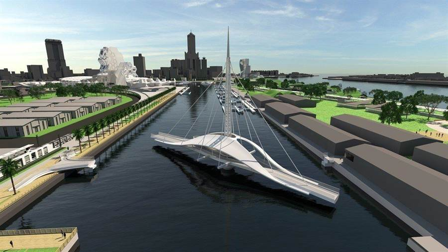 高雄會旋轉的帆船「大港橋」,串聯亞洲新灣區 將成打卡新熱點。(圖/台灣港務公司提供)
