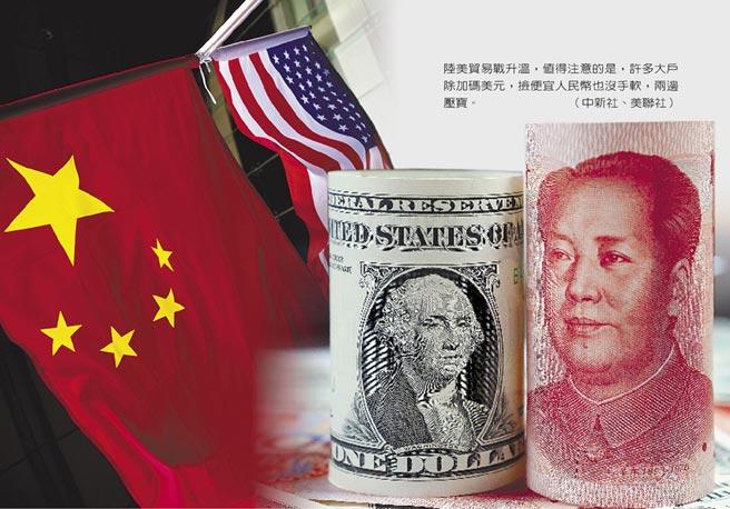 陸美貿易戰升溫,值得注意的是,許多大戶除加碼美元,撿便宜人民幣也沒手軟,兩邊壓寶。(中新社、美聯社)