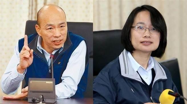 高雄市長參選人韓國瑜(左)、北農總經理吳音寧(右)。(圖/本報資料照片)