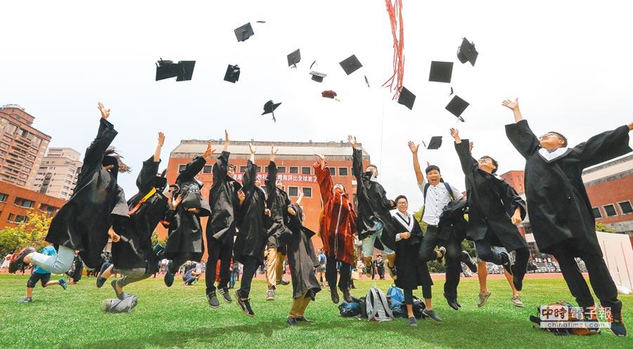 行政院主計總處統計,2017年每人可支配所得中位數,大學畢業約48.6萬元,比專科學歷還低6000元。(本報資料照片)