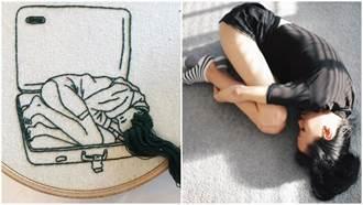 超強工藝!藝術家用針線繡出栩栩如生的「3D女孩長髮」