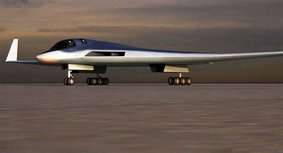 圖為俄羅斯新一代長程戰略轟炸機外型想像圖,造型類似美軍B-2轟炸機。(圖/俄羅斯國防部)