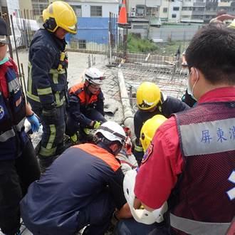 屏東驚傳灌漿吊臂折斷 壓傷2工人命危送醫急救