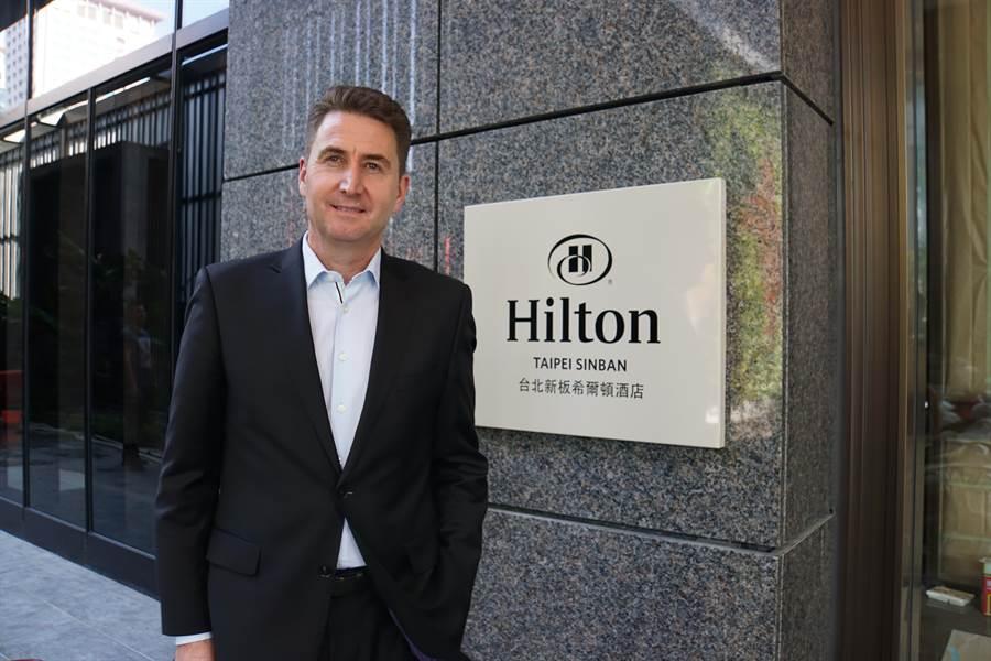 〈台北新板希爾頓酒店〉總經理湯思嘉(Scott Thomson)表示,「希爾頓式管理與服務」是飯店立足市場最大競爭優勢。(圖/姚舜)
