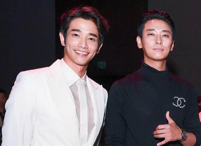 劉以豪(左)與朱智勳在釜山相見歡。(伊林提供)