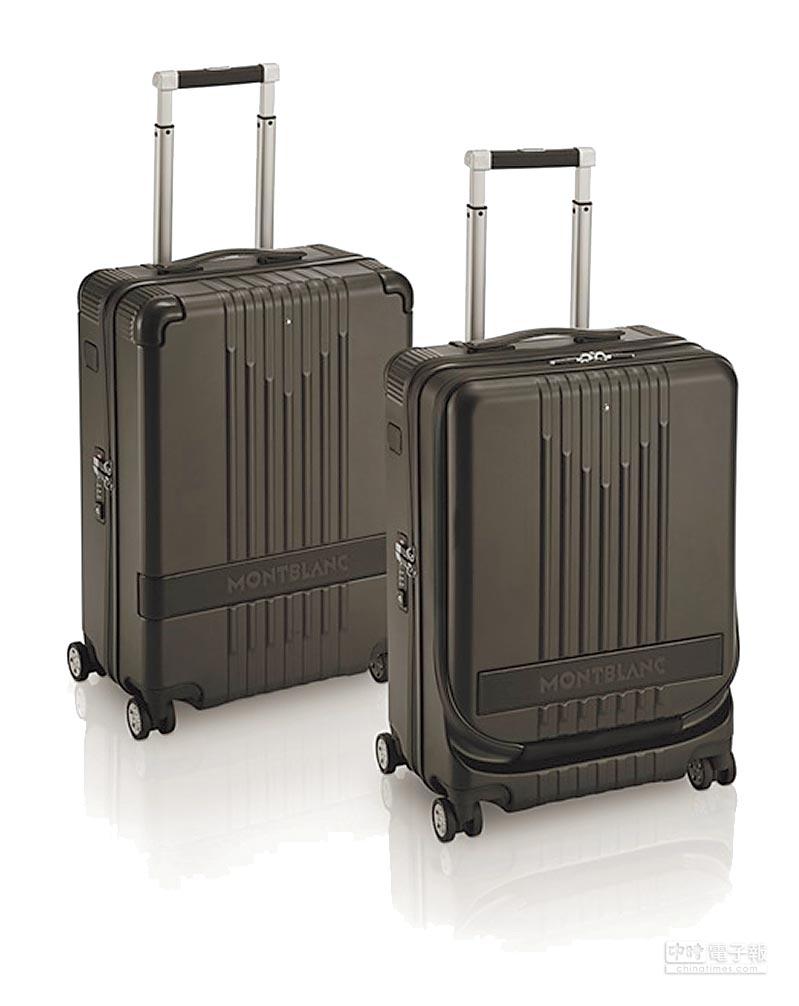 萬寶龍#MY4810黑色行李箱2萬1700元(左),附前袋行李箱(右)2萬6600元。(Montblanc提供)