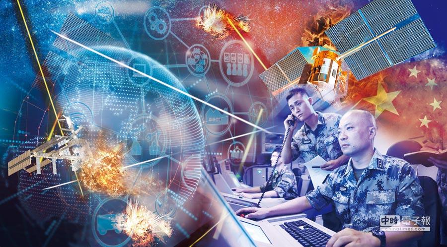 美報告指出,解放軍戰略支援部隊準備啟動太空、網路及資訊戰。(取自中國軍網,設計畫面)