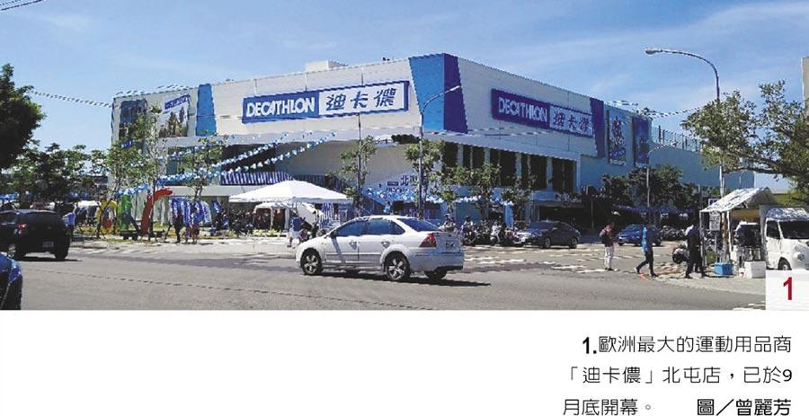 1.歐洲最大的運動用品商「迪卡儂」北屯店,已於9月底開幕。圖/曾麗芳