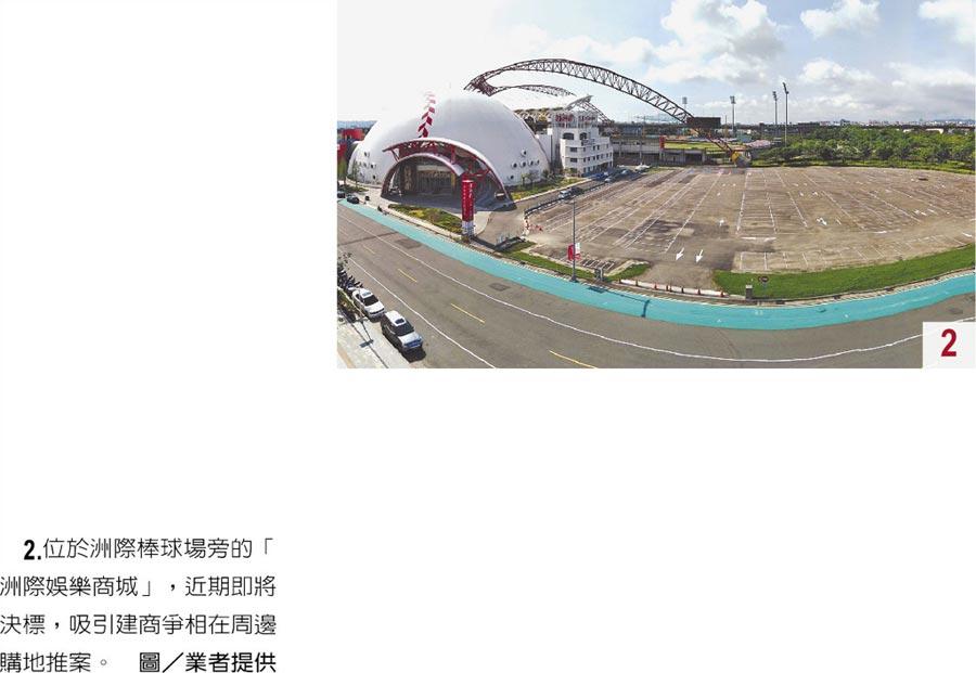 2.位於洲際棒球場旁的「洲際娛樂商城」,近期即將決標,吸引建商爭相在周邊購地推案。圖/業者提供