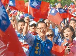 丁舉國旗傘造勢 「把中華民國撐起來」
