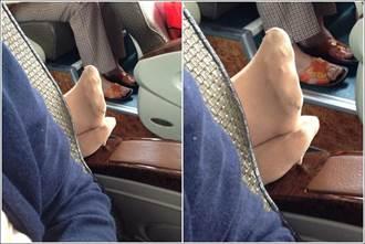 女搭客運後座大媽伸出「黃金交叉」兩腳  網怒:給她剪下去!
