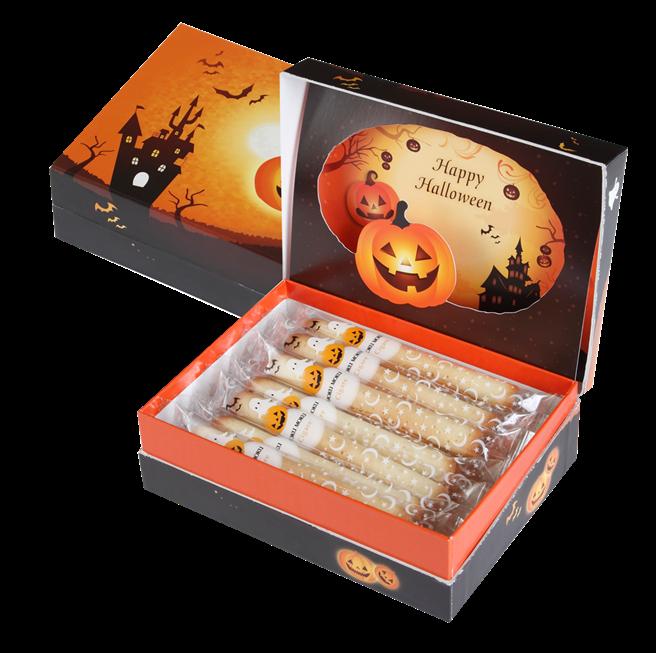 「萬聖節版原味雪茄蛋捲14入」特色造型紙盒,售價680元、2盒1260元。(圖片提供/ YOKU MOKU)