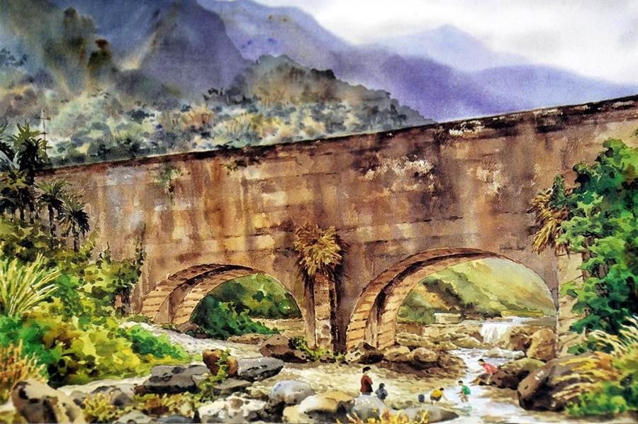 《中國時報》記者在20年前,以水彩描繪、記錄向天圳。與前一圖比較,清楚顯示當時建築體上並未加設大型水管。(沈揮勝寫生畫作)