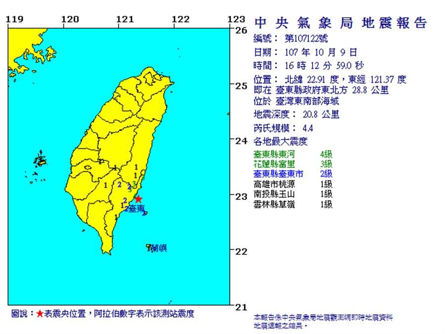 16:12臺東近海發生規模4.4地震東河最大震度4級(翻攝自中央氣象局)