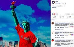 MLB》自由女神穿上紅襪球衣 洋基球迷氣壞了