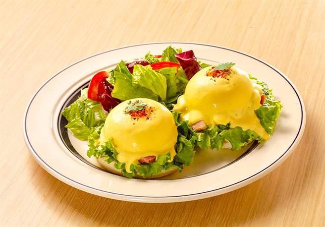 「菠菜培根班尼迪克蛋」口感清爽無負擔,售價350元。(圖片提供/ Eggs 'n Things)