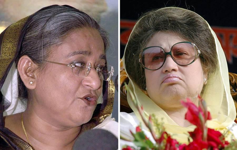 孟加拉政局是兩個女人的鬥爭,前任總理(卡莉達)的政黨在2004年時曾試圖炸死現任總理哈西娜(左),此案在最近宣判,19人因案被判處死刑。(圖/美聯社)