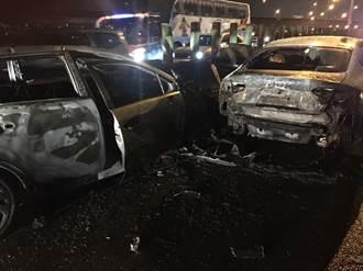 國道內壢閘道口追撞火燒車