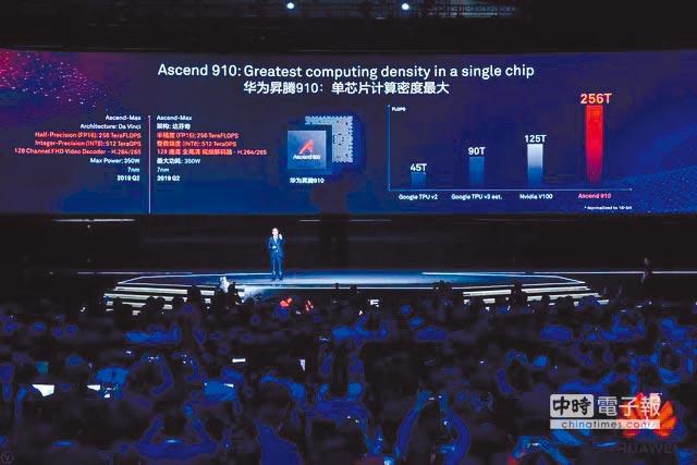華為正式發布兩款AI晶片:昇騰910和昇騰310。(取自微博@科技瘋彙)
