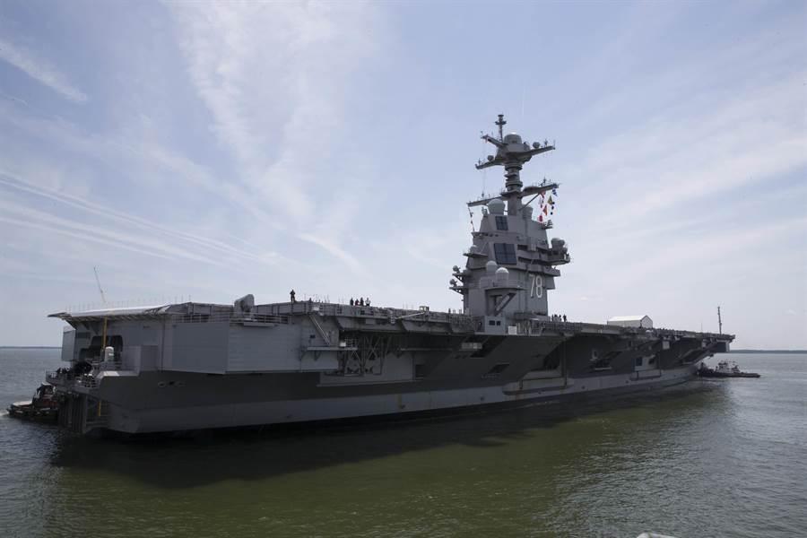 人民日報文章認為,美國最先進的福特級航空母艦賣4艘給中國大陸,就能平衡600億美元的貿易逆差。圖為福特號航空母艦。(圖/美國海軍)