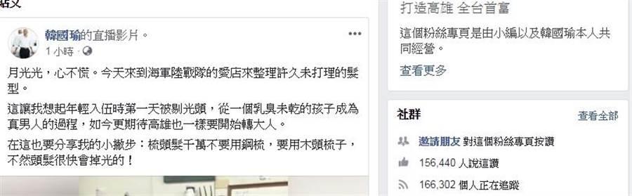 PTT網友分析韓國瑜的高人氣只是泡泡,原因在於臉書按讚人數少。(韓國瑜臉書)