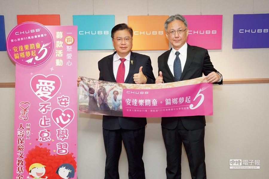 安達人壽代行總經理林意展(右)與壽險文教基金會董事長許舒博(左),攜手幫助偏鄉清寒學子。圖/安達人壽提供