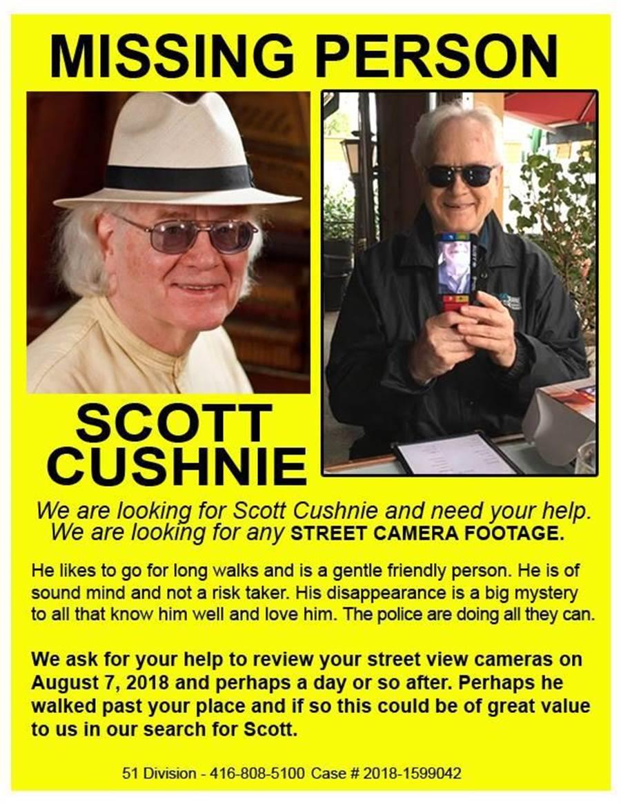 Cushnie的好友幫他建立一個FB帳戶,並在上面貼上尋人啟事(圖/取自FB/Scott Cushnie)