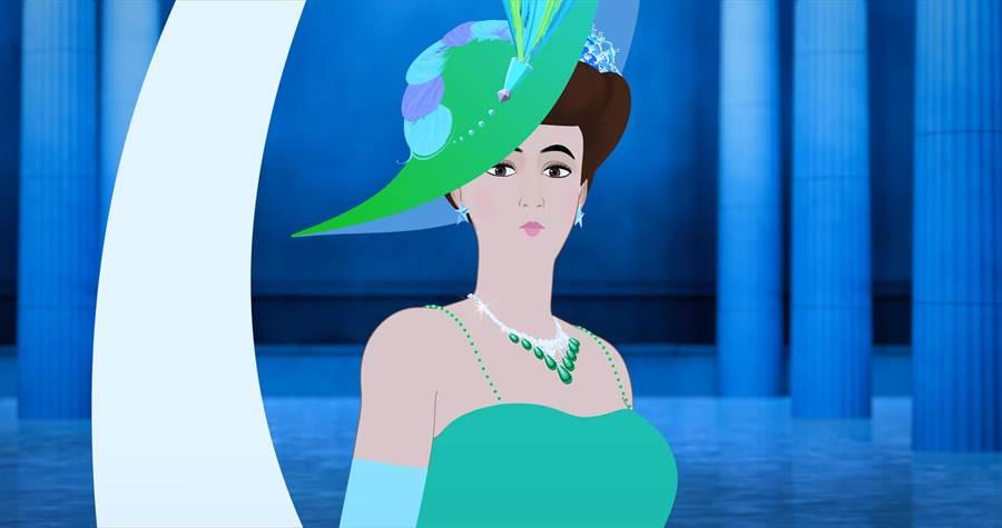 梵克雅寶贊助動畫《Dilili in Paris》,女主角佩戴品牌的經典祖母綠項鍊,原為埃及公主Faiza所有。(Van Cleef & Arpels 提供)