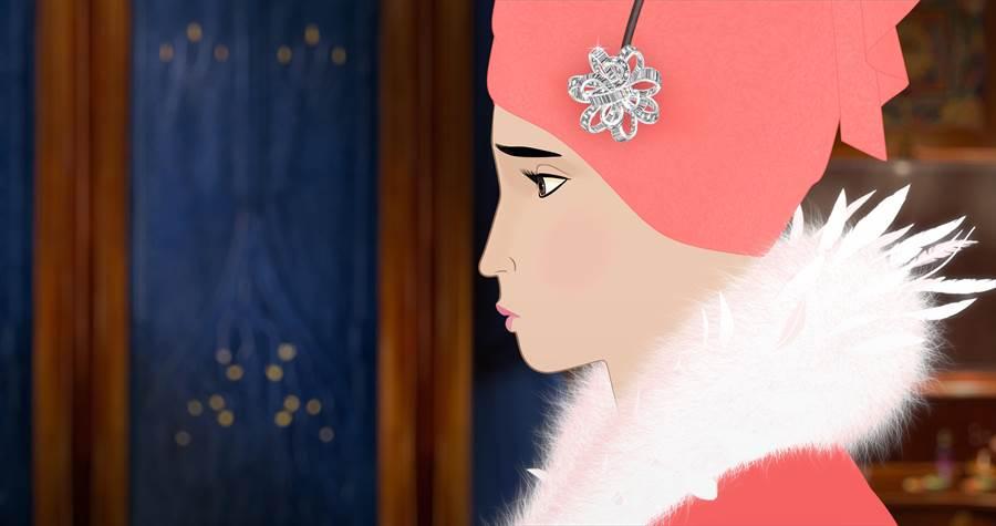 梵克雅寶贊助動畫《Dilili in Paris》,一只鑽石胸針作品裝飾在女主角的帽緣。(Van Cleef & Arpels提供)