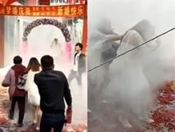 親友拿滅火器迎接新人助興 婚禮慘變「爆炸現場」