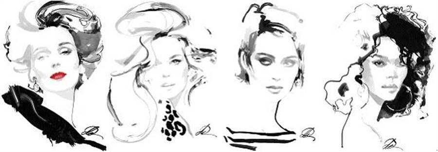 (MICHAEL KORS COLLECTION 2018秋季系列David Downton插畫作品:Brooke, Claudia, Sabine, Lola)